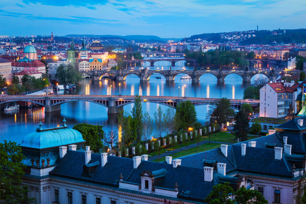 Evening view of bridges over Vltava river from Letni Park. Prague, Czech Republic