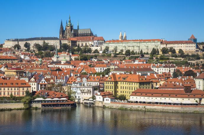 Old town of Prague and Prague castle, Czech Republic.