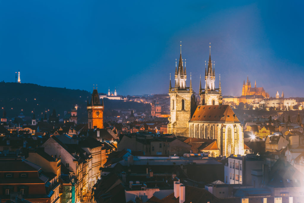Prague, Czech Republic. Evening Cityscape Of Old Center. Famous Old Town Hall, Church Of Our Lady Before Tyn, St. Vitus Cathedral In Night Lighting. Famous Landmarks, UNESCO World Heritage